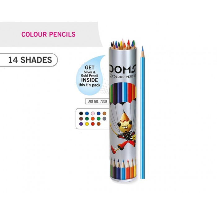 DOMS COLOUR PENCIL  ROUND TIN PACK -12 SHADE