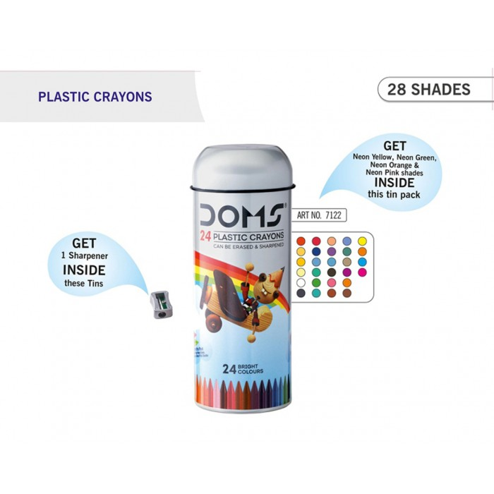DOMS PLASTIC CRAYONS TIN PACK - 24 SHADES