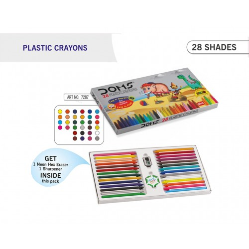 DOMS 28 SHADE PLASTIC CRAYONS BOX PACK