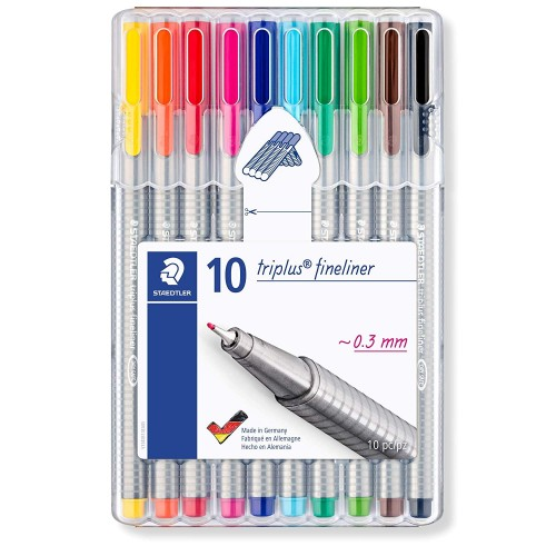 Staedtler 334 SB10 Triplus Fineliner Tip Pen in Staedtler Box - Pack of 10 (Multicolor)