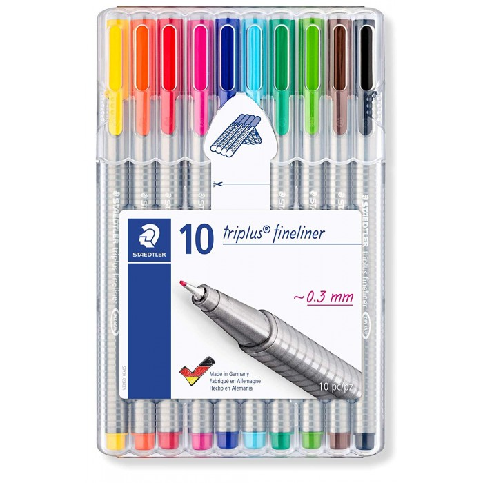 Staedtler 334 SB10 Triplus Fineliner Tip Pen in Staedtler Box - Pack of 10 (Multicolor)